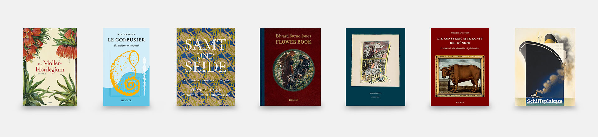 Gunnar Musan - Coverbeispiele: Das Moller-Florilegium, Le Corbusier - The Architect on the Beach, Samt und Seide, Edward Burne-Jones - Flower Book, Beckmann - Apokalypse, Die kunstreichste Kunst der Künste, Schiffsplakate