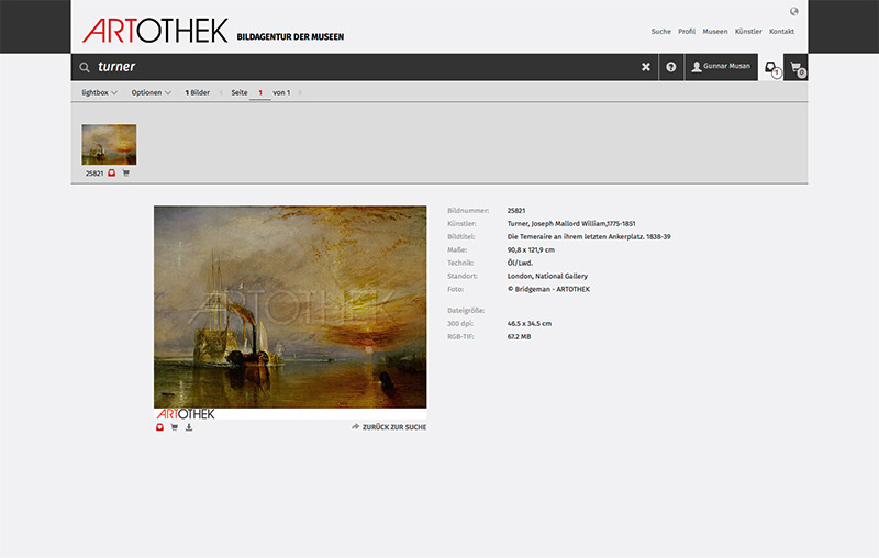 Artothek. Bildagentur der Museen - Website-Relaunch November 2015